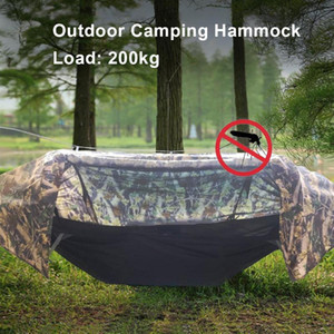 Camping Hammock with Mosquito Net and Rainfly Waterproof Cover Sleeping Swing Tent Bed Sleeping Pouch for Outdoor Backpacking