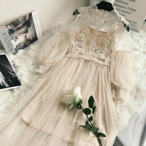 Новые поступления шнурка женщин Цветочное платье марли фонариков рукавом Voile длинное платье Женский ретро крючок платье принцессы 2 Piece Set