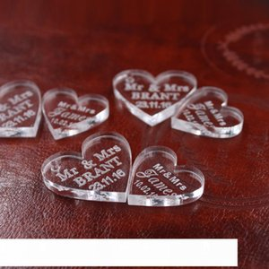50 pcs Customized crystal Heart Personalized MR MRS Love Heart Wedding souvenirs Table Decoration Centerpieces Favors and Gifts CJ191225