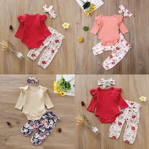 Baby Romper установить младенческие девочки сплошные вязаные кружева с длинным рукавом ползунки детские повседневные одежды установить лук-галстук маленькие цветочные штаны с повязкой 378 J2
