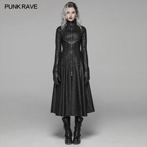 Punk Rave kadın Karanlık Punk Ön Fermuar Standı Yaka Maxi Palto Goth Sahne Performansı Cosplay Bayan Siper Uzun Mont Q1103
