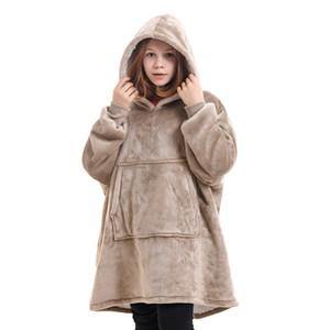 Manta invierno de los niños de gran tamaño con las mangas de gran tamaño con capucha paño grueso y suave caliente sudaderas con capucha gigante de TV Manta con capucha del traje DWC2794