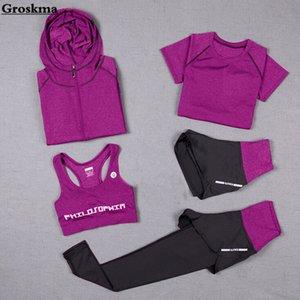 High waist pants+hooded coat+t shirt+bra+short women yoga 5 pieces set outdoor running quick dry fitness gym clothing sports 3XL