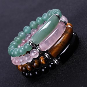 New Fashion Design Men's and Women's Handmade Colorful 8 MM Natural Stone Tiger Eye Bead Bracelet