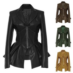 Мода 2021 Новый стиль уличных Стиль сплошной цвет Кожаный отворот Женская Куртка Пиджак Верхняя одежда PU Весна осень ослабьте мотоцикл молния на молнии