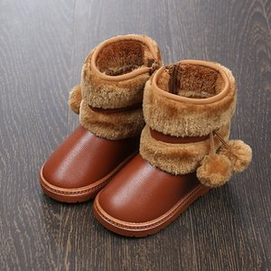 Babys Girls Pom Pom Snow Boots Childrens Winter Warm Shoes Toddler Infant Little Kids Ankle Boots Fur Lining Princess Kids Shoes 201021