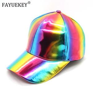미래 조절 모자 2020 레인보우 야구 모자를 들어 여성 남성 특허 가죽 힙합 트럭 운전사로 돌아 가기