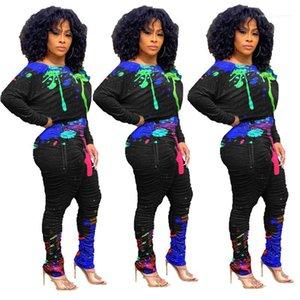 Tasarımcı Iki Parçalı Setleri Ekip Boyun Bayan Giysileri Splash Mürekkep Baskılı Bayan İki Parçalı Pantolon Rahat Yığılmış