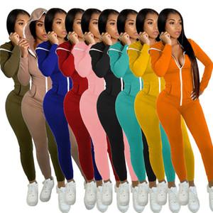 Sólido Designer Cor capuz Jumpsuits luva longa das mulheres de Slim Sexy Zipper macacãozinho Outono Skate Mulheres Sports Jumpsuit