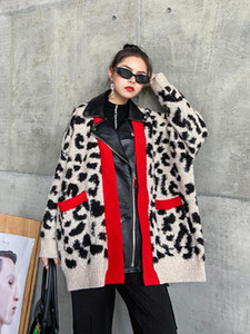 SuperAen Leopard-print Sweater Jacket 2020 New Women's Winter Thick Loose Retro Patchwork Pu Knitted Cardigan