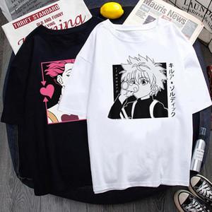 Летние женщины футболки японские аниме х охотник дуэт печать мужчин и короткая рукава повседневная рубашка