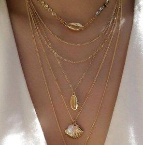 Bringle New 2021 Fashion Insh Vintage Cadena Colgante Choker Bohemian Shell Pearl Scallop Necklace para las mujeres Girls regalos fiesta