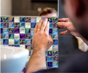 Самоклеющиеся Мозаика Плитка наклейки, кухни Backsplash ванной керамической настенной плитки наклейки Декор Водонепроницаемая кухни обои PeelStick ПВХ плитки