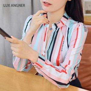 Lux Angner 2020 Yaz Moda Yeni Gömlek Kadın Gevşek Öğrenci Bluz Çizgili Baskılı Uzun Kollu Gömlek Yabani Dip