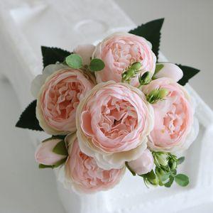 Artificial Wedding Fake Flowers Pink Silk Peony 30cm Rose Bouquet Foam Accessories Craft DIY Bride Home Decoration Flores Faux
