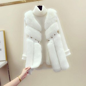 2021 Fashion Winter Coat Women Luxury Faux Fur Coat Plus Size Women Fur Collar Sleeveless Cardigan Faux Jacket Y16