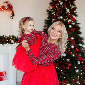 Christmas Plaid Mom Dress Kids Child Outfits Mother Daughter Dresses Mommy And Me Family Matching Clothes