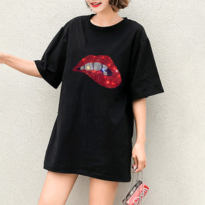 Femmes Mode T-Shirts Filles T-shirts occasionnels bricolage Motif Lips Sexy Lady Imprimer T-shirts manches courtes Nouveau pour les femmes Hot Tops vente