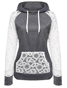 Hoodies Designer outono cor sólida Painéis Lace cordão bolso Grosso Ladies Moletons Magro respirável Moda Feminina