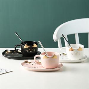 Copo de café cerâmico conjunto de chá de gato dos desenhos animados xícara de chá de café da colher de café do café da manhã caneca de café da sobremesa do pão Prato criativo dos pares x1027