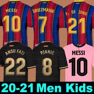 FC BARCELONA футбол Джерси 20 21 Camiseta де Futbol ANSU FATI 2020 2021 Messi Griezmann DE JONG Пьянич COUTINHO Мужчины Дети комплект футбол рубашка
