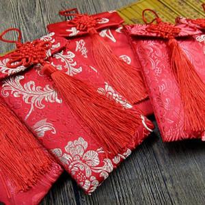 Chinese Red Envelope Betrothal Gift Bag Exquisite Floral Money Pocket High-grade Brocade Wedding Tassel Bags Knot Cloth Art