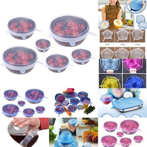 Set Silicone Stretch Suction Pot Lids 6Pcs Set Food Grade Fresh Keeping Wrap Seal Lid Pan Cover Kitchen Tools Accessorie OLSQ4