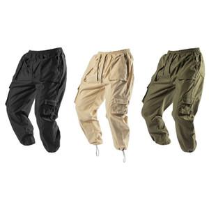 Outono Inverno Nova Mens Cotton carga multi Pockets Workout calças sólida Ginásios Joggers Tactical Sweatpants soltos calça casual