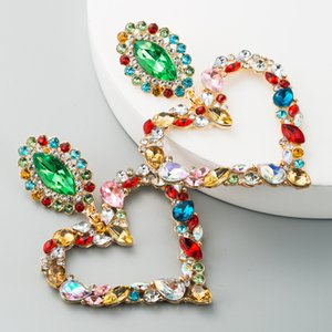 Women Fashion Rhinestone Heart Earrings Bohemian Statement Dangle Earrings Wedding Bridal Crystal Jewelry Party Gift Free DHL LQQ167
