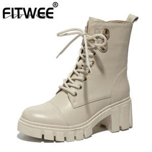 Stivali Fitwee Real Leather Leather Donne Cinturino Croce Croce con cerniera Scarpe da cerniera Thick Tacco rotondo TOE Calda moda calzature taglia 34-39