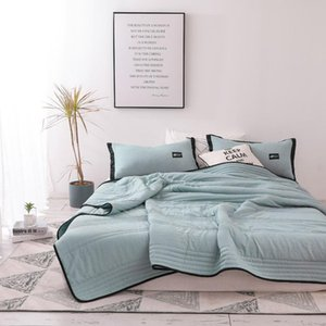 Air Condition Thin Stripe Summer Cool Quilt Single Sofa Blanket Throw Travel Bed Breathable Office Double Quilts