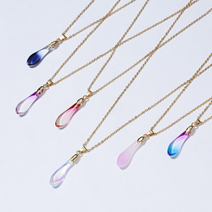 Make a Wish Natural Stone Water Drop Necklace Lover Opal Stone Waterdrop Pendant Necklace Charm Jewelry Unique Jewelry DHL Free
