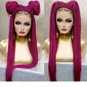 2019 New pink red Braided Wigs with Baby Hair Long box Braids Wigs Glueless Synthetic Lace Front Wigs for Black Women Heat Resistant