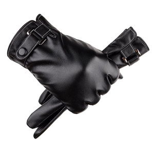 Men PU Touch Screen Gloves Leather thick Warm Five Fingers gloves mens Autumn Winter outdoor Sport cycling Glove man fashion accessories NEW