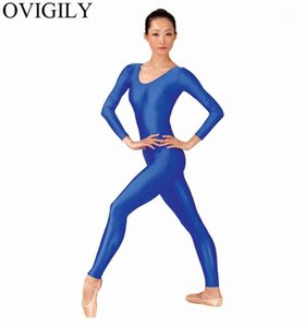 OVIGILY Womens Spandex Lycra Gymnastics Unitard Adults Royal Blue Long Sleeve Full Body Suits Exercise Unitards Scoop Neckline1
