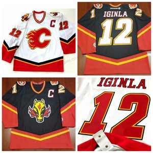 Cheap Retro Custom # 12 Jarome Iginla Vintage Calgary Flames hockey Jersey ricamati Bianco Nero qualsiasi formato 2XS-5XL nome o il numero di trasporto