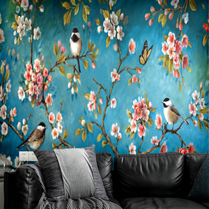 Wallpaper Retro Chinese Style Art Study Room Decoration Wallpaper Mural Self Adhesive Flowers And Birds Waterproof and Mildew