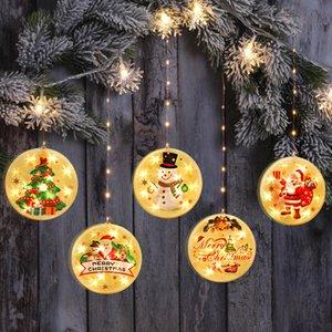 NOUVEAU Décor de Noël LED Guirlandes 14cm suspendu avec maison crochet ventouse Party lanternes de décoration salle fil rideau lumineux KKF2197