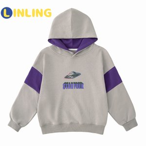 LINLING Fashion Cotton Letter Boys Sweatshirt Kids Hoodies Autumn Clothes Long Sleeve Cartoon Top Tees Children Clothing V254 1006