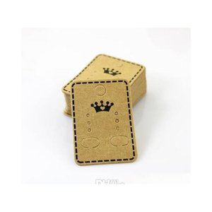 100Pcs Lot Wholesale Fashion Jewelry Ear Studs Packaging Display Tag Thick Kraft Paper Earring Card&Tags 4.5*3.2Cm Jewelry Display Vzmj3