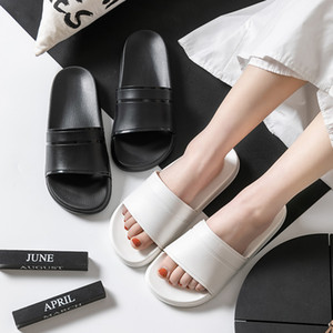 Classic Black White Home Women Bath Slippers Plus Size 46 Summer Indoor Couples Shoes Non-slip Lightweight Men Cool Slides