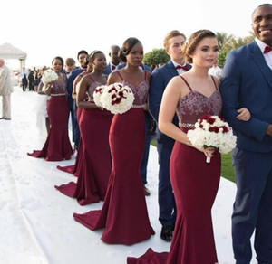 2021 Dark Red Long Bridesmaid Dresses Spaghetti Straps Lace Bohemia Cheap Party Formal Wear Mermaid Maid of Honor Party Gowns