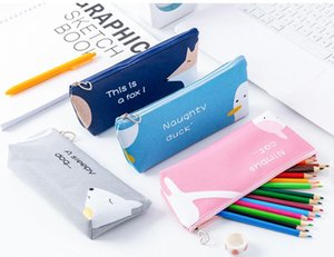 4 style pencil case Large Capacity canvas Pen Bags dog duck cat printing Storage Pouch Student Lovely School Supplies