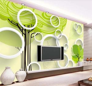 Custom 3D Photo Wallpaper Modern Fashion White Circle Green Tree Living Room TV Background Decor Mural Wallpaper For Walls 3 D