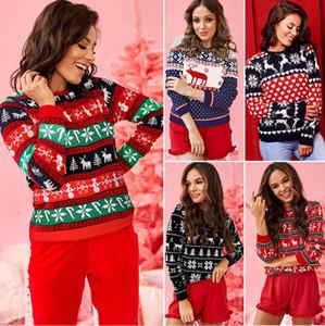 Mujeres tapa del suéter ciervos de la Navidad del leopardo del remiendo del cuello redondo de moda de manga larga camiseta de las mujeres del otoño diseñadores de ropa VENTA E101902