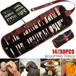 Acemi Seramik 14 / 30pcs Çömlekçilik Ağaç işleri Şekillendirici Alet Seti DIY Ahşap Kil El Sanatları Modelleme Araçları Q1106