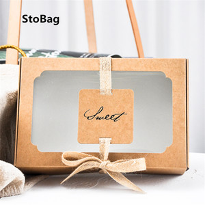 StoBag 10pcs Sweets Kraft Box Paper Bag Biscuit Cookie Gift Cupcake Box Candy Bag Event & Party Cake Decorating Baking Supplies 201029