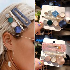 3PCS / Set Akrilik Saç Klipler Kız Tokalar İçin Kadınlar Avrupa ve Amerikan Retro Alaşım Metal Prenses Kafa Saç Aksesuarları Seti