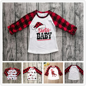 70-110cm 2020 Children Christmas Clothing Kids T-shirt Tops Baby Girls Plaid Long Sleeve T Shirt Xmas Red Grid Dinosaur Tshirt sale E102906