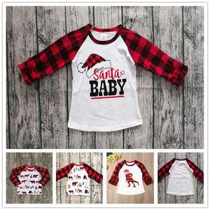 70-110cm 2020 Children Christmas Clothing Kids T-shirt Tops Baby Girls Plaid Long Sleeve T Shirt Xmas Red Grid Dinosaur Tshirt sale E102906